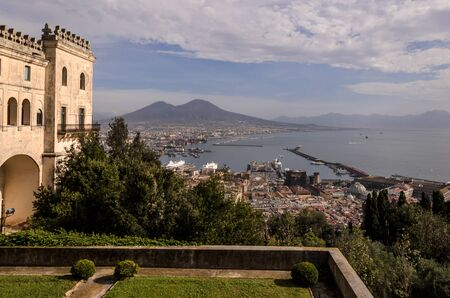 view of the bay of naples from the saint martin monaster garden, Italy