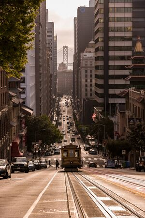 view of the historical cable car in san franscisco, usa