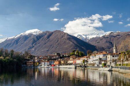 view of morbegno a small village at lake maggiore, italy.