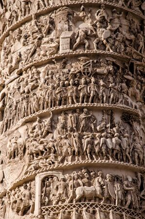 close-up of the Traian s column, part of the archealogical heritage from ancient roman empire. Rome. Italy. Imagens