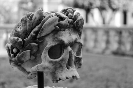 view of a marble sculptured skull, symbol of death Imagens