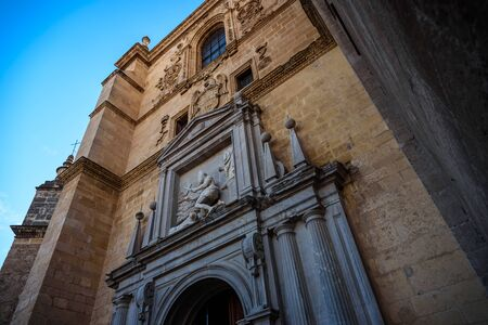 view of the facade of the chuch of saint jeronimous in granada during a sunny day Imagens