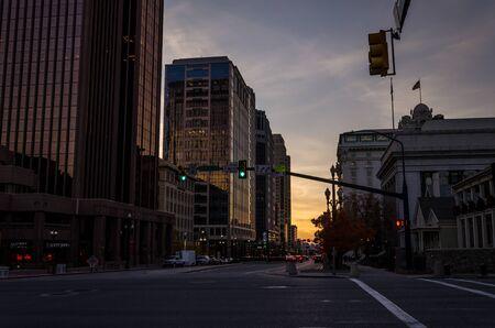 view of  Salt Lake city dowtown at sunset. Utah. United States