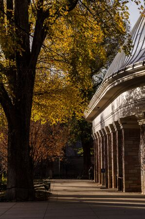 view of temple square in Salt Lake city old . Utah. United States. Autumns Imagens