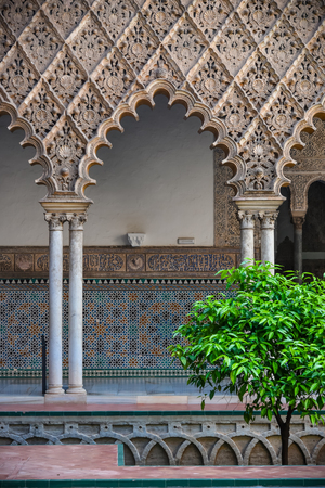 view of the garden of  alcazar (the royal palace) in seville. andalucia. spain.