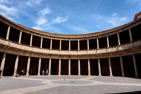 Patio of The Palace of Charles V, Alhambra, Granada, Spain. Circular courtyard of the The Palace of Charles V at the Alhambra in Granada, Spain