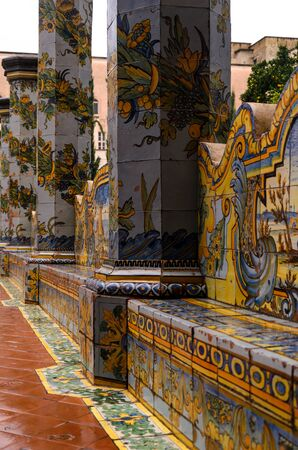 details of the cloister of saint claire monastery, naples, Italy Imagens