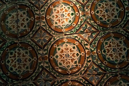 view of traditional ornamental tile (azulejos) in seville. andalucia. spain