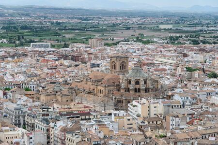 aerial view of granada city center and the cathedral. spain, anadalusia Imagens