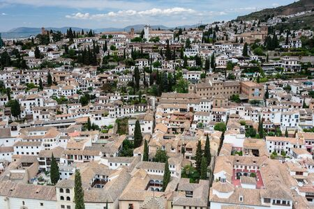 aerial view of granada, from alhambra. spain, anadalusia Imagens