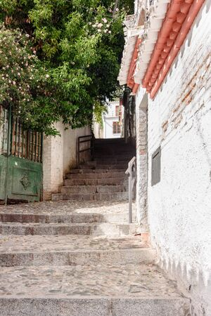 view of albaicin street with stairs, the arab quarter in granada. spain