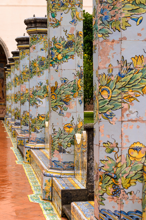 details of the cloister of saint claire monastery, naples, Italy Editorial