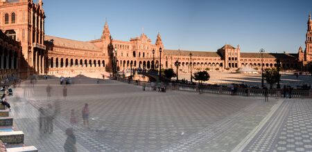 view of plaza de espgna (spains square) in seville at sunset. andalucia, spain