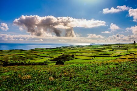 view of the green landscape in terceira, azores, portugal. Standard-Bild