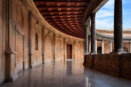 upper part of the Circular courtyard of the The Palace of Charles V at the Alhambra in Granada, Spain.