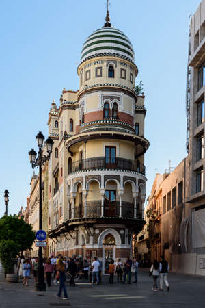 view of the new square (plaza nueva) in seville , spain.