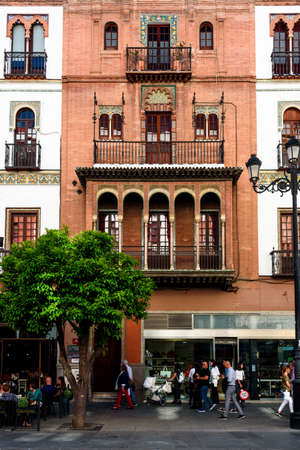 view of a palace in the city center of seville. andalucia, spain