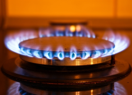 A photo of a gas burner from a stove