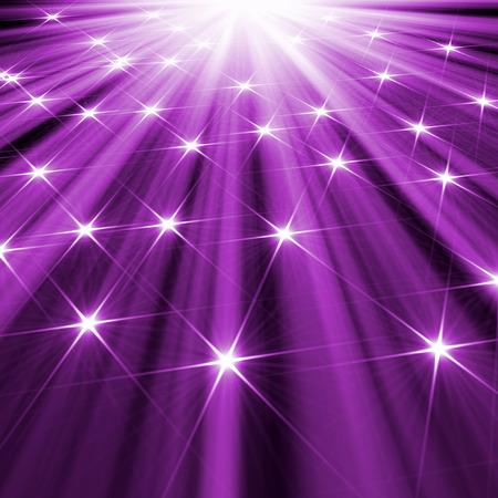 보라색 빛나는 광선의 배경 별
