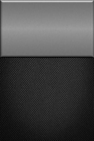 brushed aluminum: Carbon fiber background with  brushed aluminum plate.