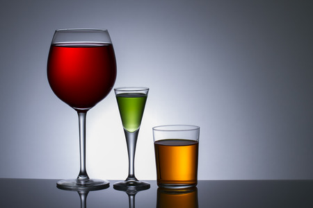 Three Colors of alcohol in glass photo