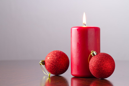 candle and christmas ornament  photo