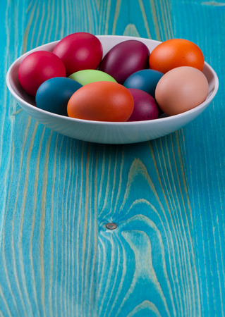 Easter eggs in  bowl photo