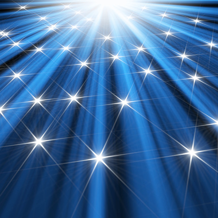 star background: stars  background of blue luminous rays Stock Photo