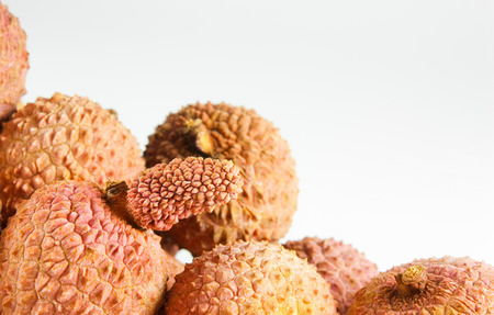 leechee: Litchis an white background