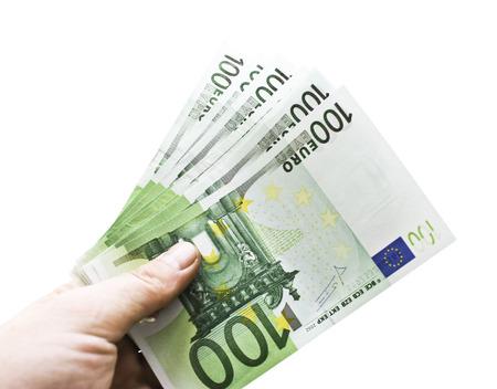 one hundred euro banknote: European dollars isolated on white background Stock Photo