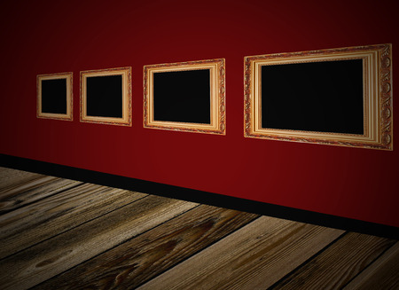 Frames on brown wall photo