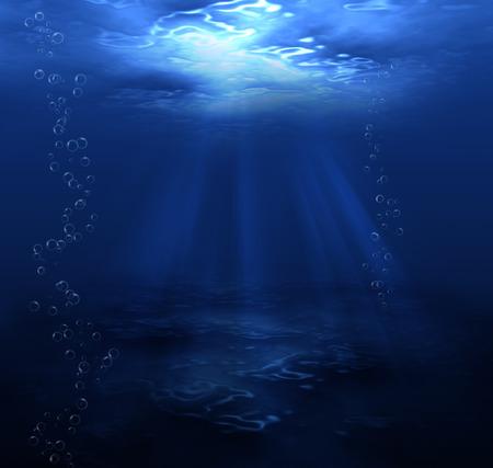 deep sea diver: underwater dark blue background