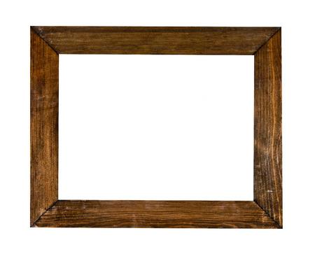madera r�stica: Marco de la vendimia, madera chapada, fondo blanco, trazado de recorte incluidos Foto de archivo