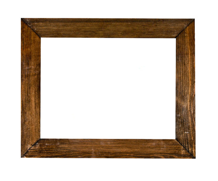 wood: Vintage picture frame, wood plated, white background, clipping path included