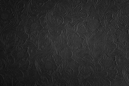 Noir motif floral Banque d'images - 33805401