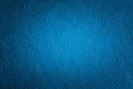 cuero vaca: patrón floral azul