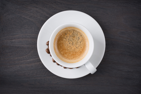 cup: Coffee cup top view on wooden table background