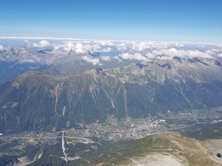 Chamonix Mont Blanc view from the top of mountain Stock Photo