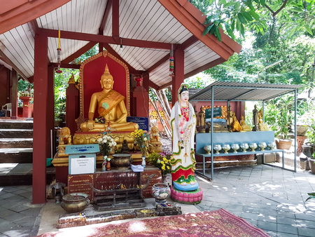 CHIANG MAI, THAILAND - July? ? 31 ?,? 2017: a religious temple with Buddhist statues.