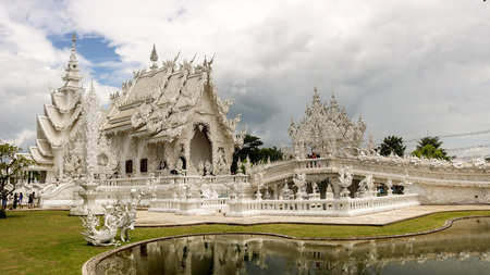 Chiang Rai, Thailand - 01 August 2017: the beautiful White Temple (Wat Rong Khun) of Northern Thailand. Editorial