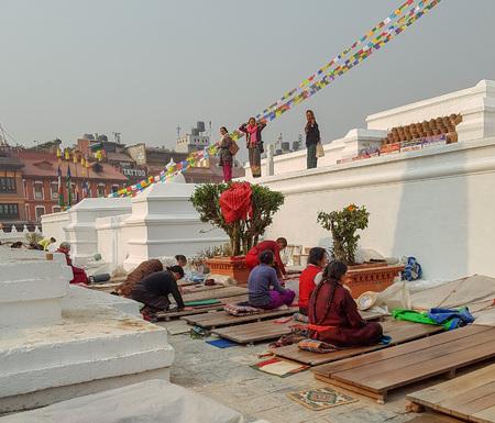 Kathmandu, Nepal - March 22, 2018: some people pray in Kathmandu, Nepal, Asia.