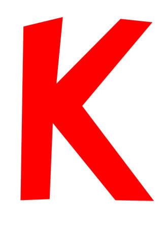 Big red letter K on white background