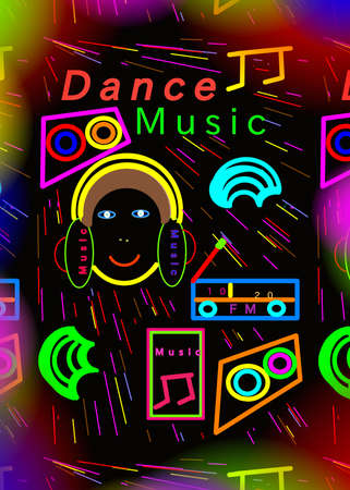 Colorful music word over abstract