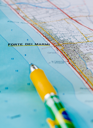 Maps showing some famous tourist locations in Versilia. Useful to indicate a specific place in Tuscany Italy like Forte dei Marmi and others places Stock Photo
