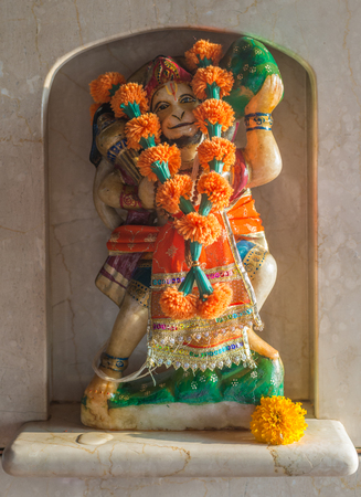 The murti of Shri Hanuman representing strength and devotion. Shri Hanuman protects the temple from evil spirits