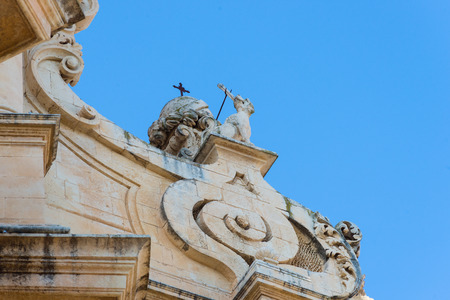 Valley of Noto Sicily. Typical details of Baroque architecture in Noto Sicily