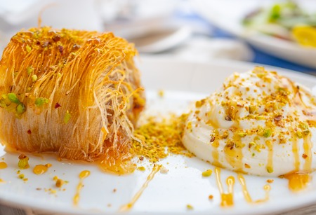 Close up of a succulent Greek dessert. Greek kataifi with honey yogurt and grated pistachios on a white plate and a blurred background. Horizontal view