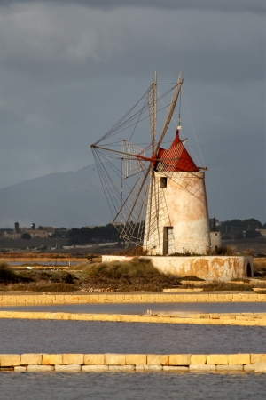 Windmill at Marsala, Saline, in Sicily Italy  Stock Photo - 15734928