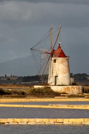 Windmill at Marsala, Saline, in Sicily Italy Stock Photo - 15734928