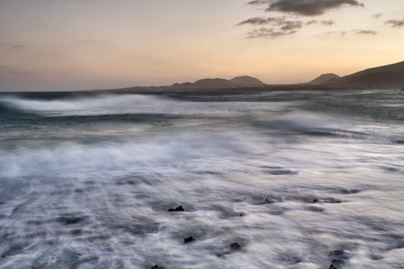 Sunset taken from the beaches of Lanzarote Stock Photo - 29689210